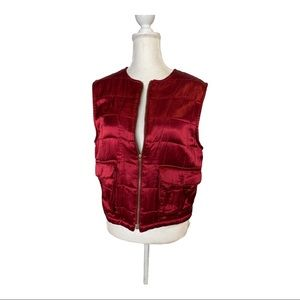 Democracy quilted satin down vest red full zip m